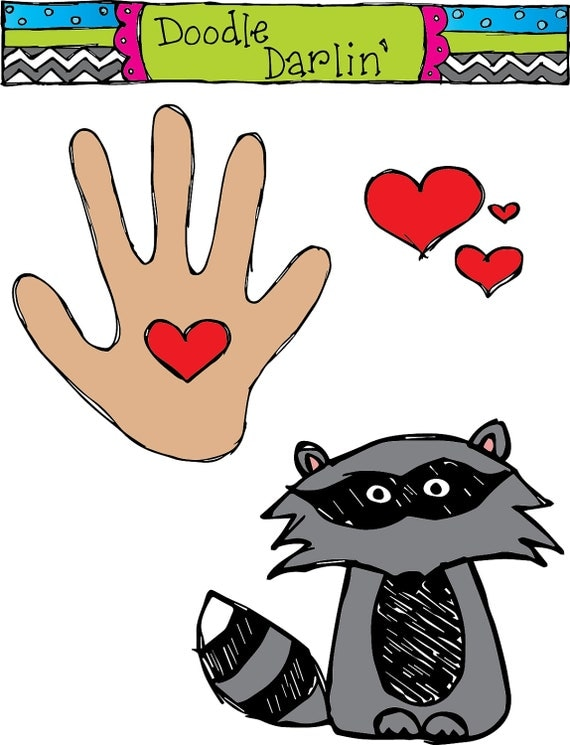 Kissing Hand COMBO Clipart Set INSTANT DOWNLOAD