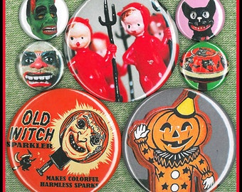 7 vintage Halloween figures MIXED SIZE set 1 inch AND 2.25 aka 2 1/4 inch buttons Set C