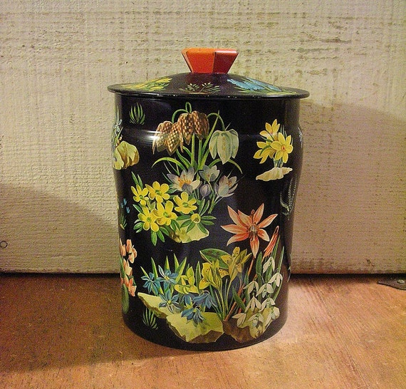 Stunning Vintage English Tin with Scattered Floral Motifs on Black Background 1950s