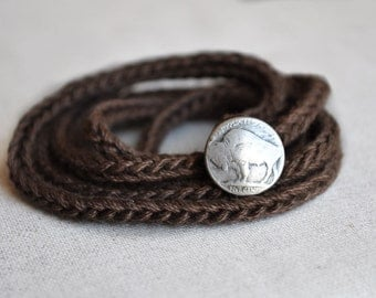 FREE SHIPPING, Skinny I-cord Wrap Bracelet, Buffalo Nickel, Thin Bracelet, Dark Brown, Chocolate, Mocha, Earth Tones,