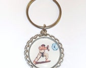Street Fighter classic Ryu and Ken videogame bottle cap keychain