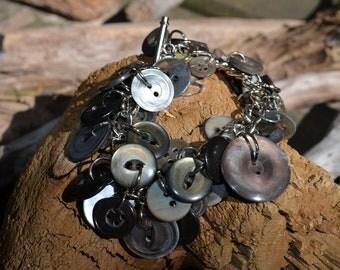 Handmade Vintage Button Bracelet SB45 grey gray mother of pearl MOP