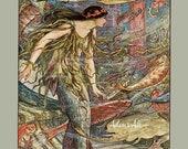 Mermaid Print, Victorian Mermaid Art From A Vintage Mermaid Illustration by H J Ford, Mermaid and Carp, Nautical Print, Coastal Decor