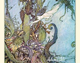 The Little Mermaid Art Print By The French Artist Edmund Dulac, Mermaid Print, Coastal Decor, Feminine Decor, Mermaid Wall Art, Beach Decor