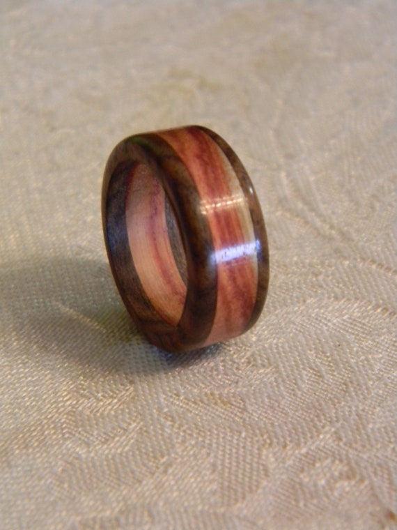 Size 8.5 Ring made from Tigerwood & Pink Ivory