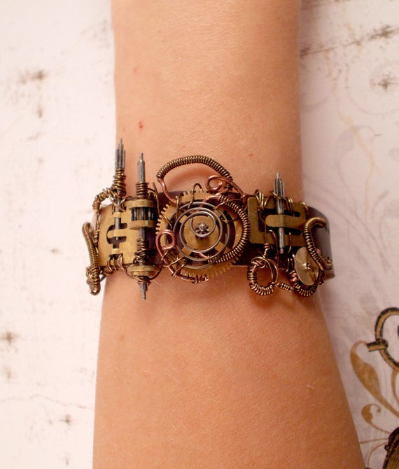 Leather and Gears Steampunk Bracelet
