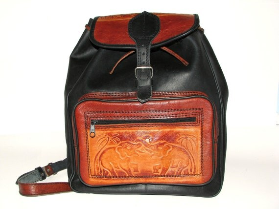 Leather Backpack.  Black and Tan Leather Ethnic Rucksack with Elephants. Harvest Days.