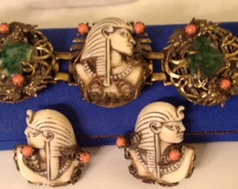 Vintage Egyptian Revival Bracelet and Earrings of Isis with Jade and Coral Accents