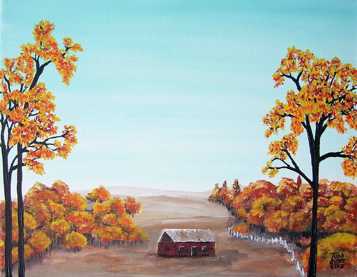Pics for autumn paintings easy for Fall paintings easy