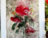 "ORIGINAL ENCAUSTIC Semi Abstract Floral Red Rainy Day Rose 16""x20""   - STUDIOSABINE"