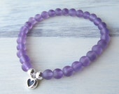 MEDITATION Matte Amethyst with Sterling Silver Heart Charm
