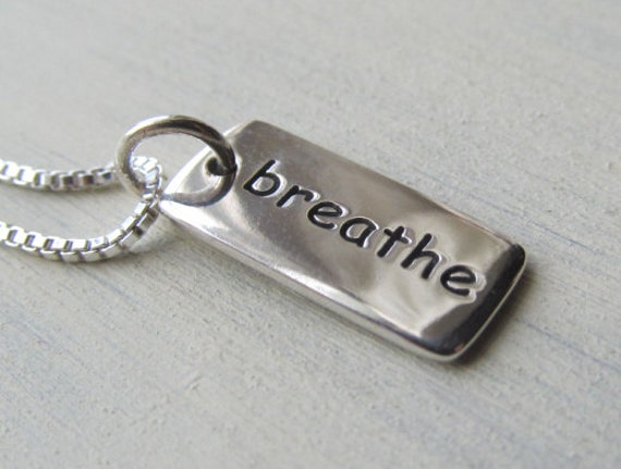 Sterling Silver Breathe Tag Necklace