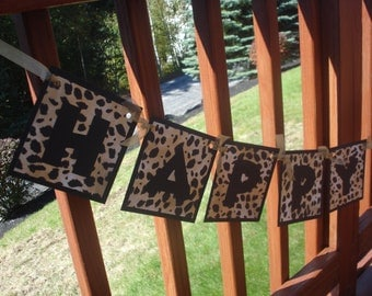 Leopard Happy Birthday Banner