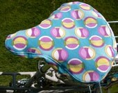 Cruiser Bike Seat Cover - Sky Blue with Circles
