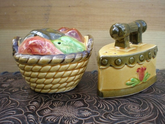 Iron and Laundry Basket Salt and Pepper Shaker Set