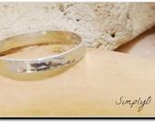 Sterling Silver Ring , Slim Flat Ring , Hammered Finish , Handmade