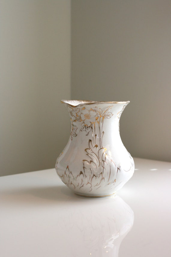 Vintage Ivory Vase with Gold Accents, Hollywood Regency, Chinoiserie Chic