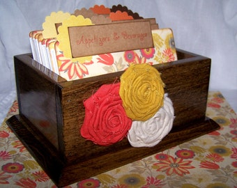 RECIPE BOX, Dividers and Recipe Cards, Orange and Yellow, Aztec, Floral, Dark Walnut Wooden Box
