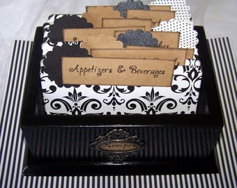 RECIPE BOX, Black Recipe Box, Modern Recipe Box, damask Dividers, 4 x 6 Recipe Cards, Black and White Bridal Shower, Black kitchen, organize