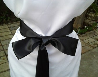 2- 1/4 Wedding Black Sash/ Bridal Sash/ Black Satin Ribbon ready to Ship /Bridal Bridesmaids/ Flower girl Sashes...