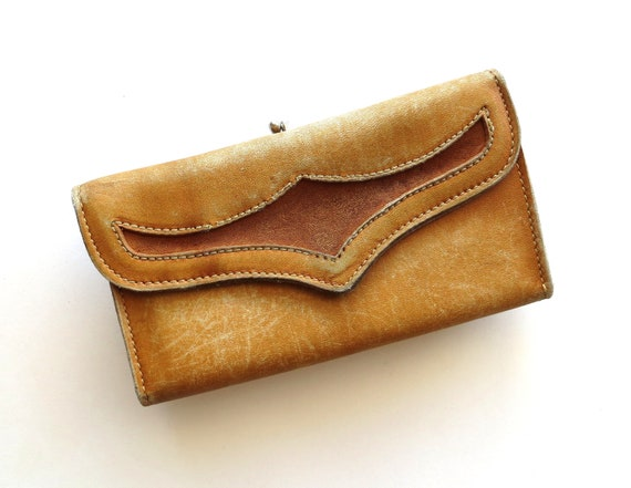 Vintage Leather Wallet / Baronet Top Grain Leather / Country Western Rugged Rustic
