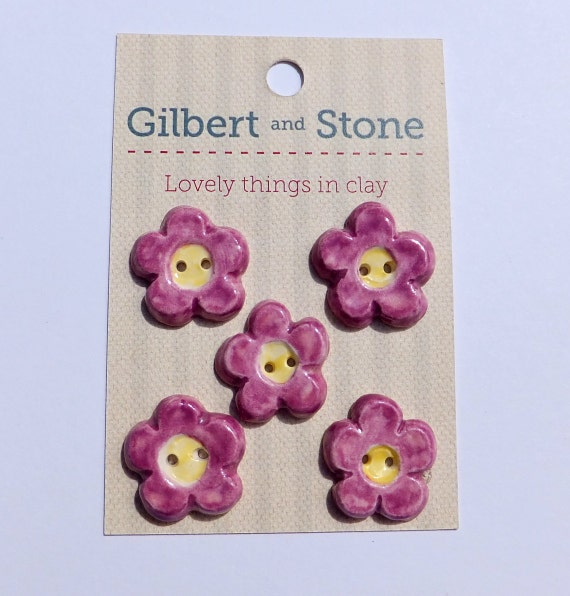 Ceramic buttons pottery flower buttons purple and yellow