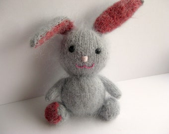 Knitted Bunny, Mohair Bunny, Knitted Rabbit, Stuffed Plush,