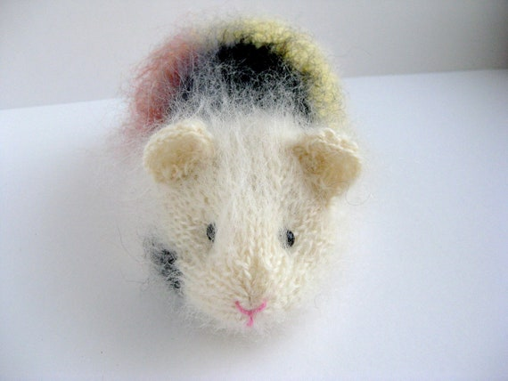 Three coloured, Mohair Guinea Pig, Knitted Giunes Pig, Thank You, Get Well Soon, New Home, Birthday, Leaving Gift
