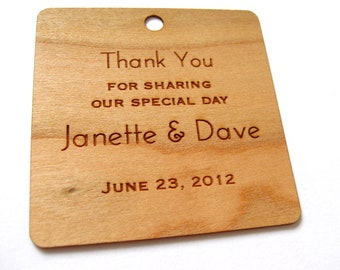 Engraved Thank You Wood Tags, Wedding Favor Tags, Wooden Tags, Gift Tags, Shower Favor Tags, Labels Hang Tags, Wood Personalised