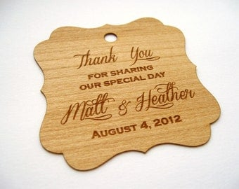 Thank You Tags (100) / Wedding Favor Tags / Wooden Tags / Gift Tags / Shower Favor Tags / Labels Hang Tags  - Wood Personalize