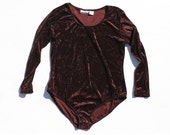 vintage 1980's velvet burgundy PLUS SIZE long sleeve body suit (2XL)