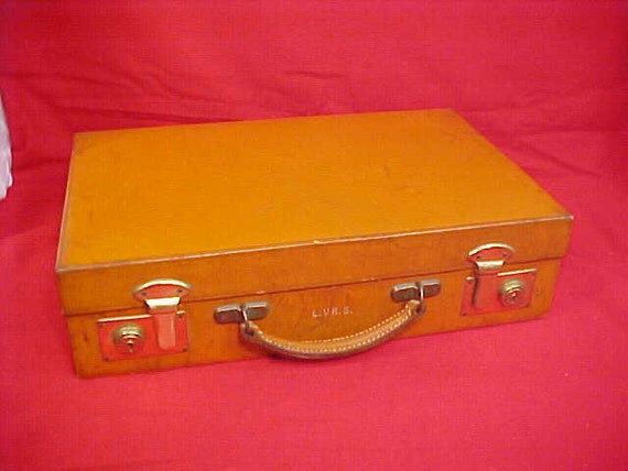 Vintage Briefcase Writing Box Leather Covered