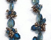 Chinese Crystal Beads Designer Glass Faceted Oval Beads in Blue and Browns with FREE Crystal Beads