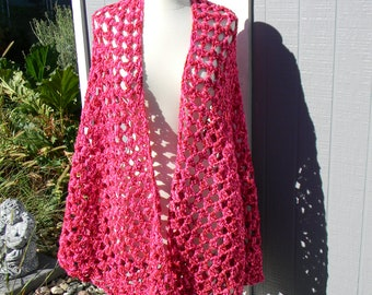 Crocheted Prayer Shawl - Pink