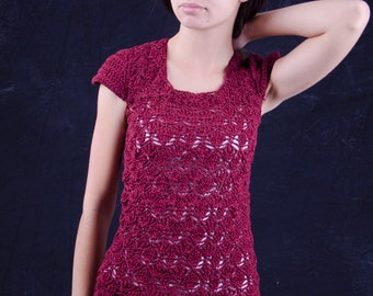 Red tunic dress handmade unique crochet