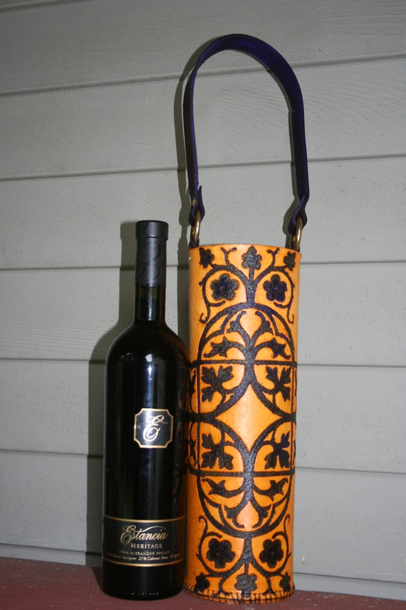 Wine Quiver / Tote Hand Tooled Leather in Purple and Blonde- TREILLIS