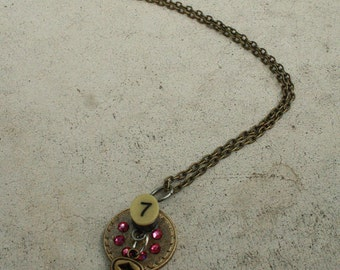 Lucky Number 7 Steampunk Pendant Necklace