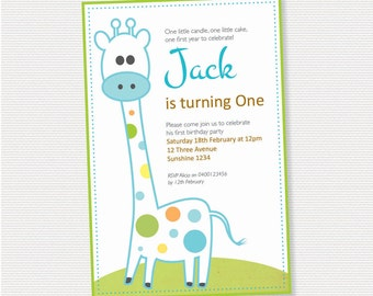 Giraffe Birthday Invitation - DIY Printable