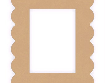 "Quantity of three Unfinished Wooden Cutout Scalloped frames 1/4"" thick"