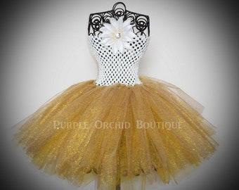 Cream & Gold Tutu Dress