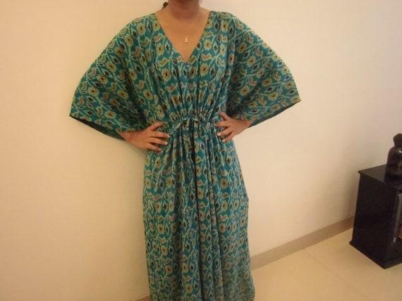 Kaftan Dress Cotton: Maxi dress Tunic Robe, Beach Cover Up, Getting Ready Robe, Wedding Photo Props, Bridesmaids Gift, Resort Wear