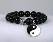 Stretchy Bracelet, Black Onyx with Peace Charm, Meditation Bracelet, Yoga Inspired, Stretch Bracelet, Free Shipping