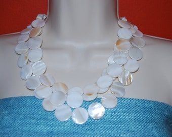 Statement Necklace Chunky Multi Strand Ivory Mother of Pearl Necklace Beaded Necklace