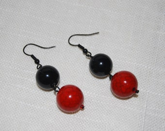 Red and Black Beaded Earrings Dangling