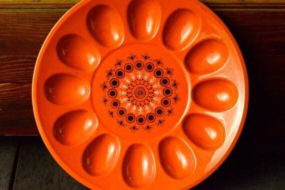 Melamine bright-orange deviled egg plate