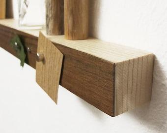 Magnetic walnut wood shelf