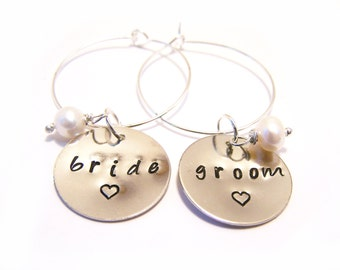 Custom Bride and Groom Hand Stamped Freshwater Pearl Wedding Wine Charms / Champagne Charms
