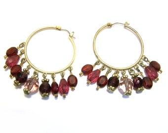 Vintage Gold Tone Purple Glass Beaded Boho Hoop Earrings / Gift for Her / O267