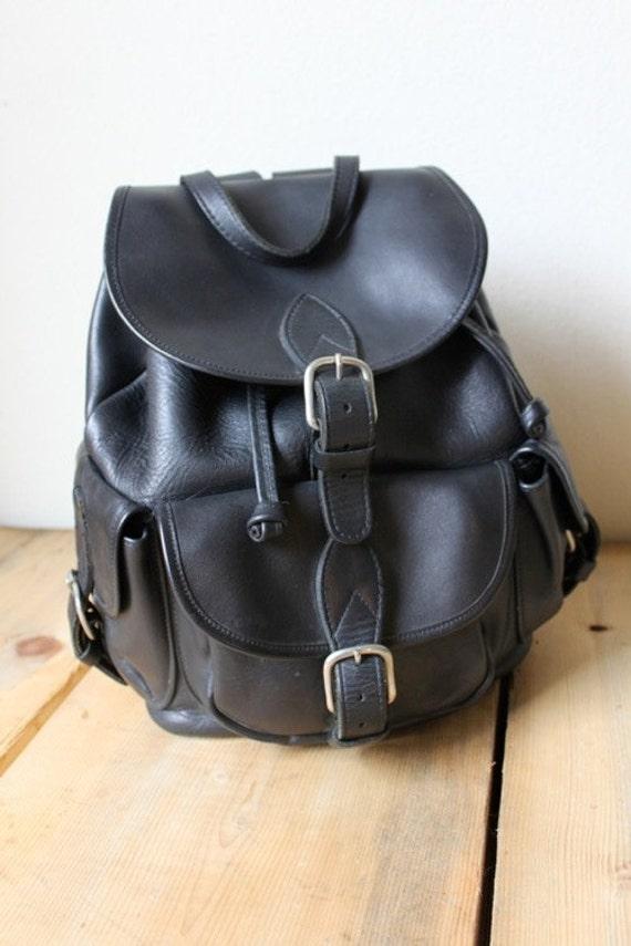 Vintage Black Leather Multiple Pocket Rucksack Backpack