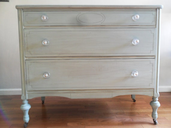 Vintage Chic Blue/green  Dresser/Chest of Drawers/Bureau